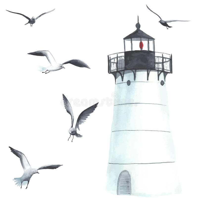 Watercolor lighthouse and seagulls vector illustration