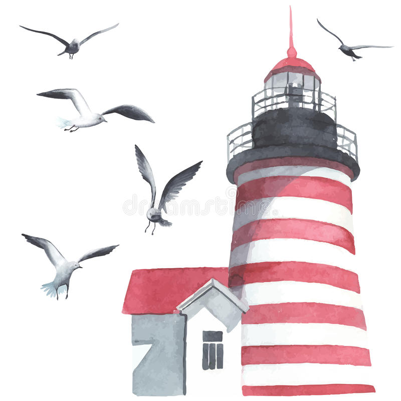 Watercolor lighthouse and seagulls royalty free illustration
