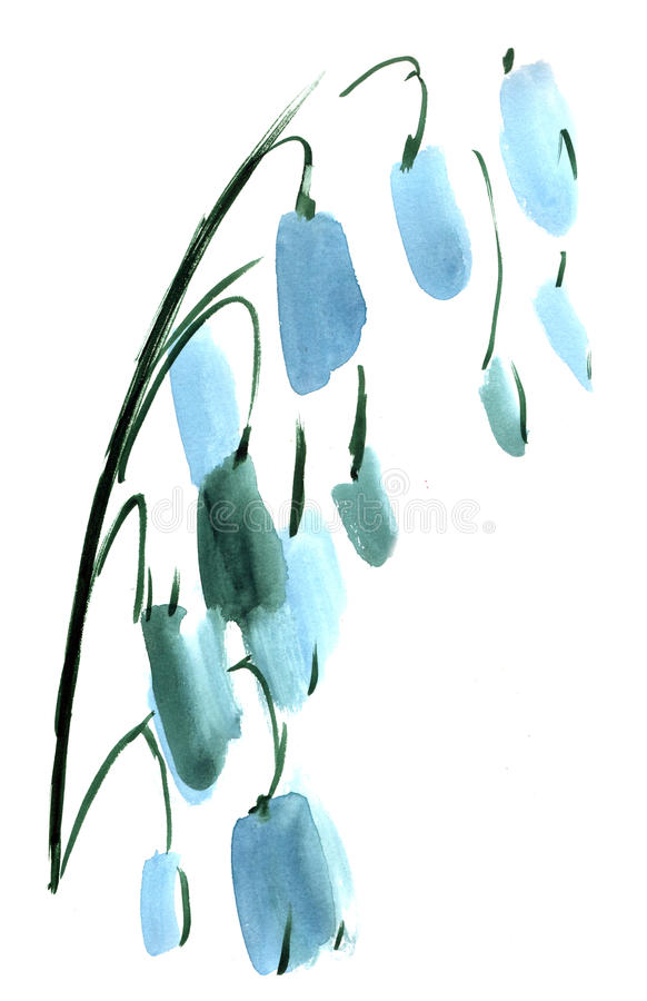 Watercolor Lily of the valley flowers impression painting royalty free stock image