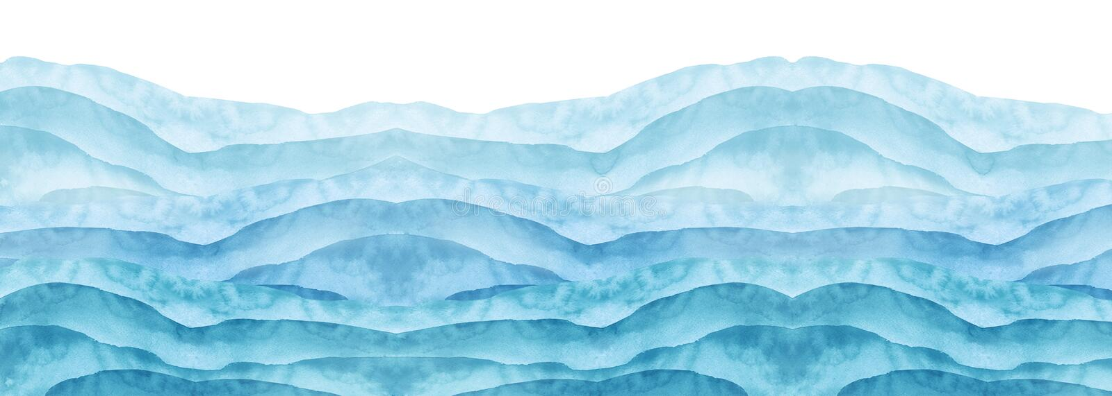 Watercolor line of blue paint, splash, smear, blot, abstraction. Used for a variety of design and decoration. Strokes of paint stock photo