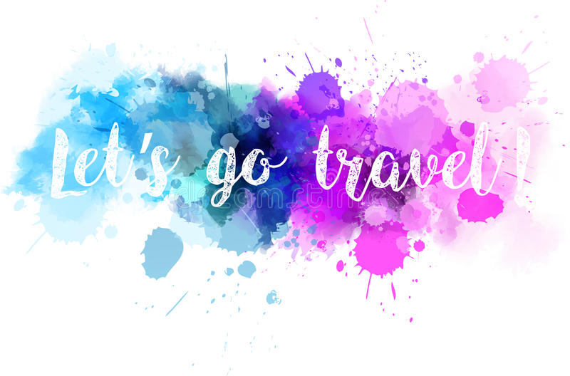 Watercolor line travel background stock illustration