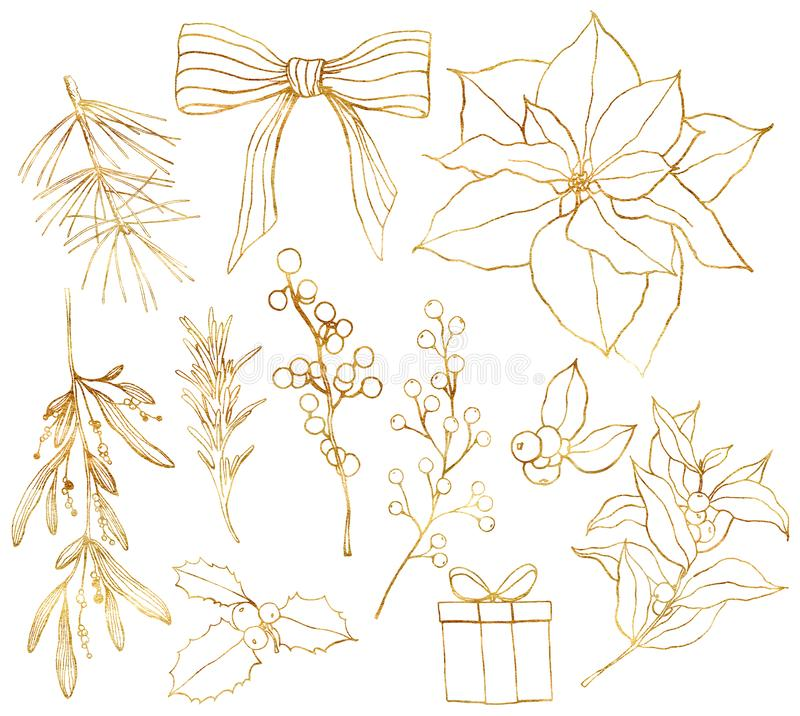 Watercolor linear golden set with Christmas symbols. Hand painted poinsettia, bow and eucalyptus branches isolated on. White background. Holiday illustration vector illustration