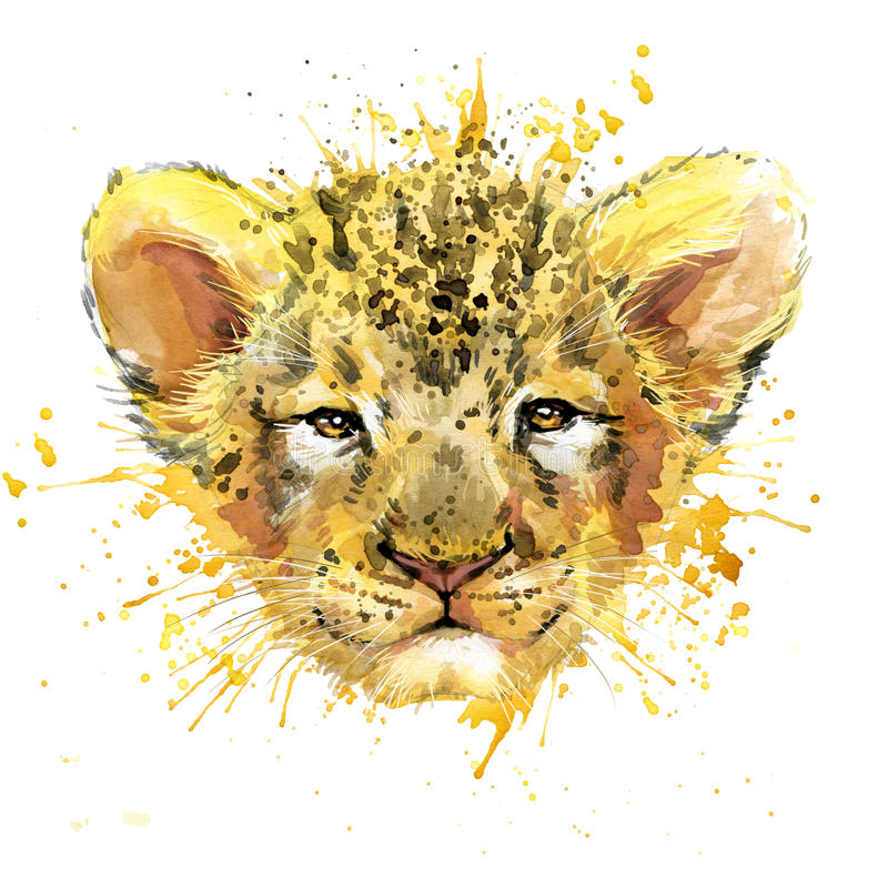 Free Watercolor Lion Cub Illustration Royalty Free Stock Images - 65138529