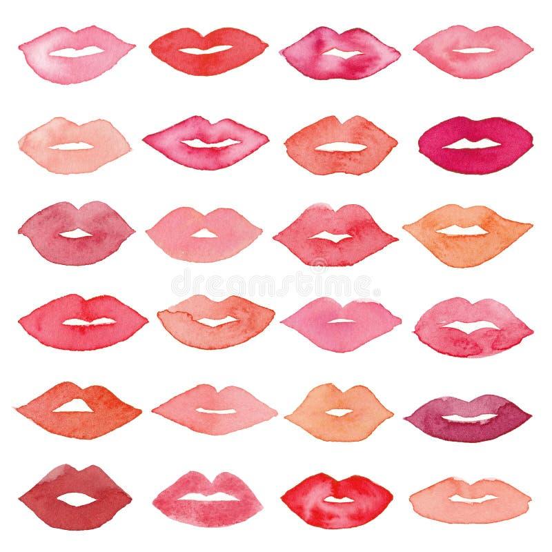 Watercolor lips icon set royalty free illustration