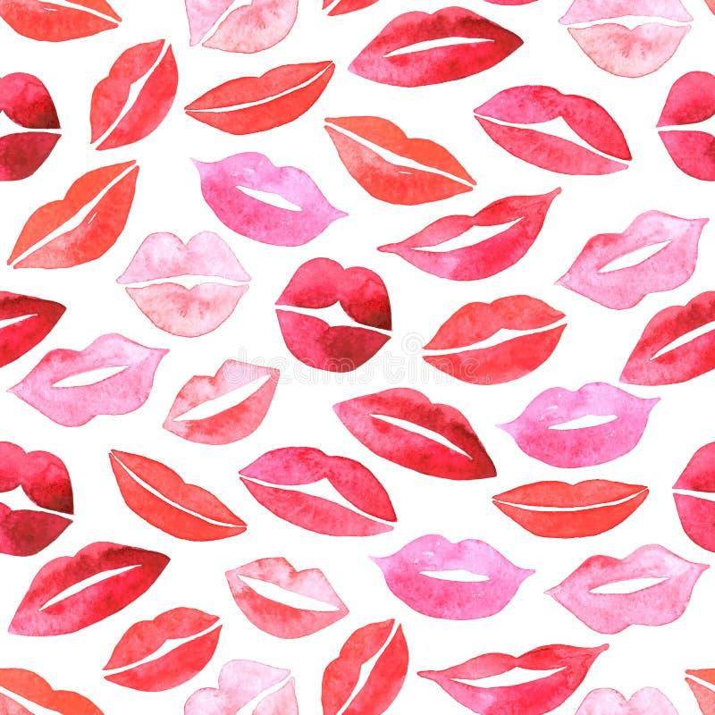 Watercolor lips seamless pattern. vector illustration