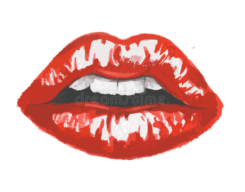 Watercolor lips. And glamour red lips. Make up and fashion. Breath vector illustration