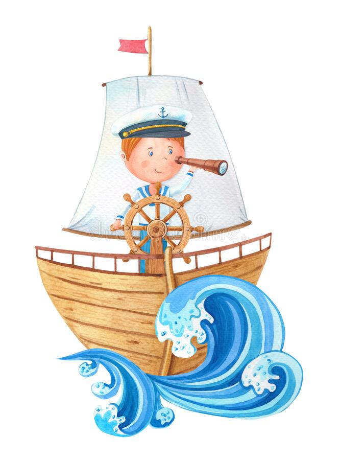 Free Watercolor Little Captain At The Wheel On Ahoy Wooden Ship.Cute Cartoon Boy In A Sailor Suit Looks Through A Telescope. Royalty Free Stock Image - 180780236