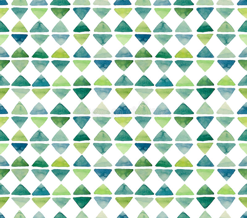 Watercolor Little Green Triangles Seamless Repeat Pattern vector illustration