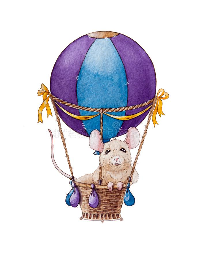 Watercolor little mouse or rat illustration travelling in air balloon. Chinese zodiac symbol of new year 2020. royalty free illustration