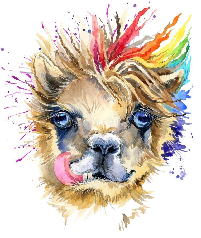 Free Watercolor Llama Illustration. Fashion Tee Shirt Design. Stock Photos - 99731413