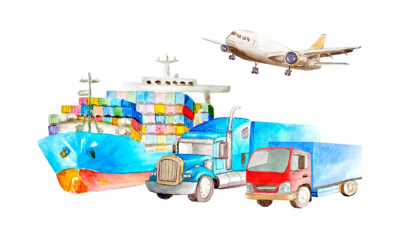 Watercolor logistic concept set of cargo transport for business cards isolated on white background. Airplane, container truck, van vector illustration