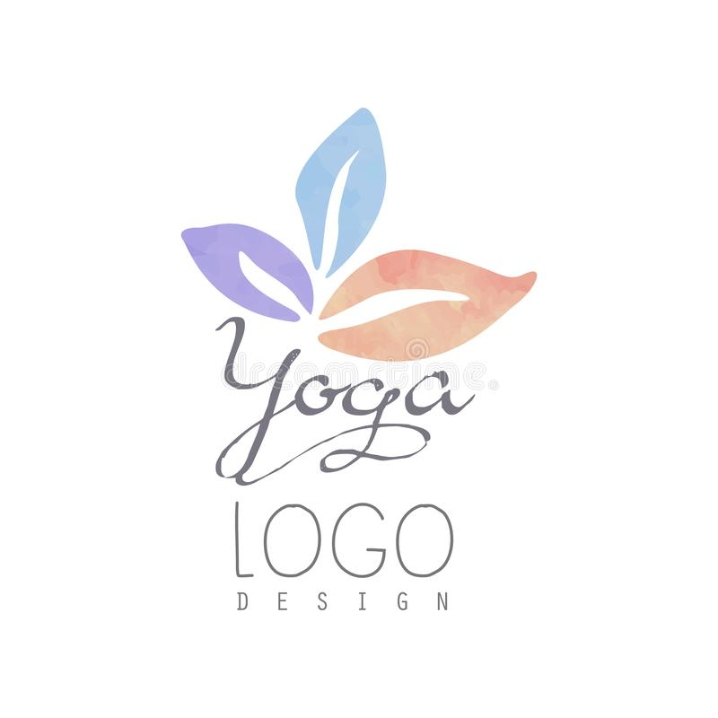 Watercolor logo template for yoga class or meditation center. Harmony with nature. Alternative medicine and wellness. Concept. Healthy lifestyle. Hand drawn royalty free illustration