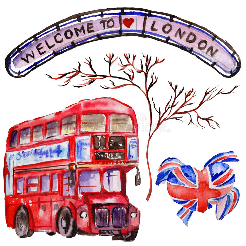 Watercolor London Illustration Great Britain Hand Drawn Symbols