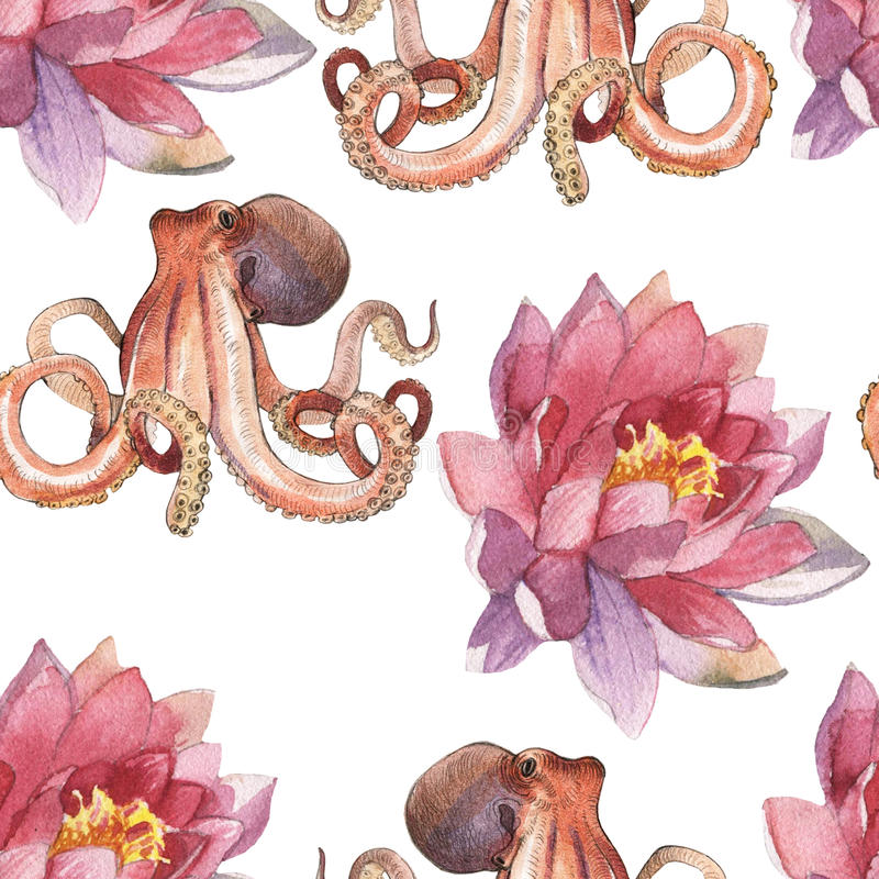 Watercolor lotus flower and octopus. Watercolor pattern of lotus and octopus hand painted illustration isolated on white background royalty free illustration