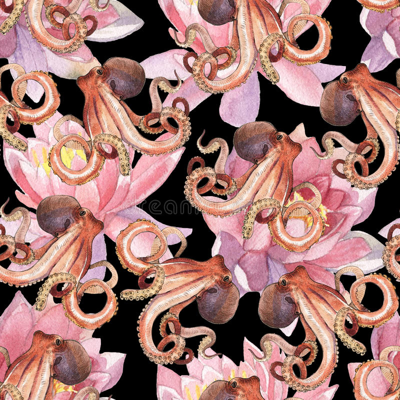 Watercolor lotus flower and octopus. Watercolor pattern of lotus and octopus hand painted illustration isolated on white background stock illustration