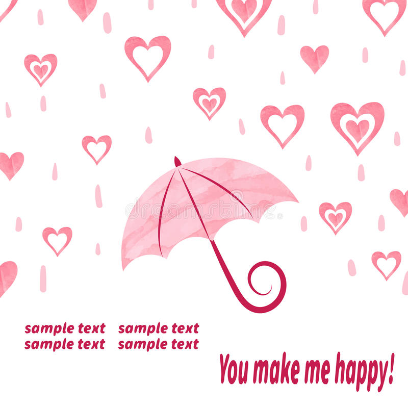 Watercolor love background with umbrella and hearts. Love rain. Valentine's day vector illustration royalty free illustration