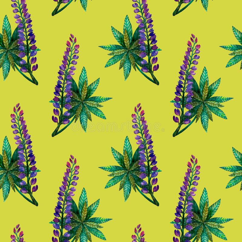 Watercolor lupins. Seamless bright colorful summer flower pattern on olive stock image