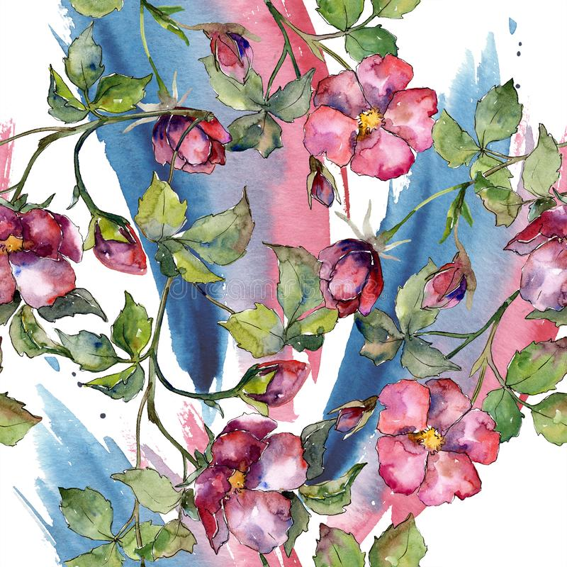 Watercolor magenta bouquet of wild roses flowers. Floral botanical flower. Seamless background pattern. vector illustration
