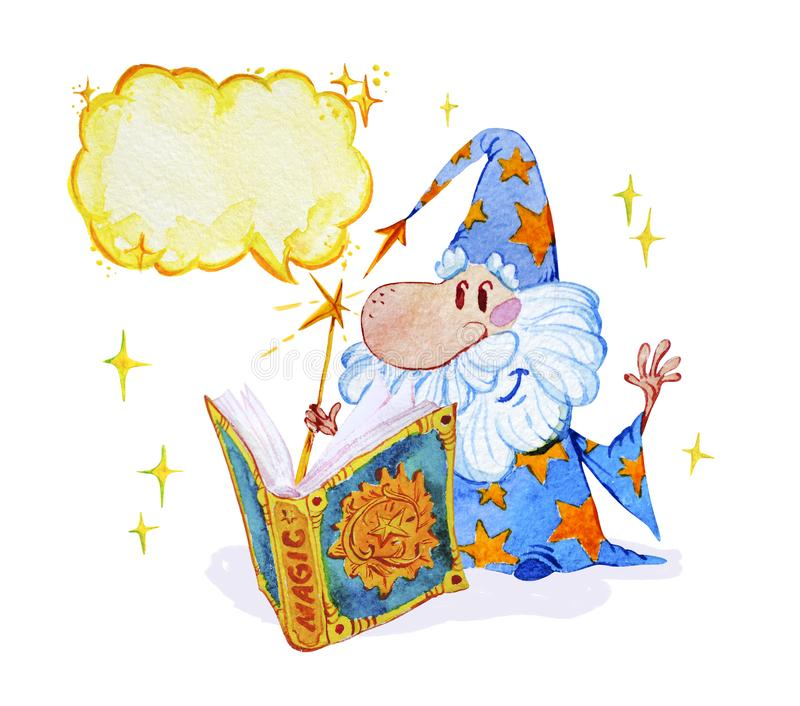 Watercolor magic illustration with hand drawn artistic elements isolated on white background - short wizard with spell book. royalty free illustration
