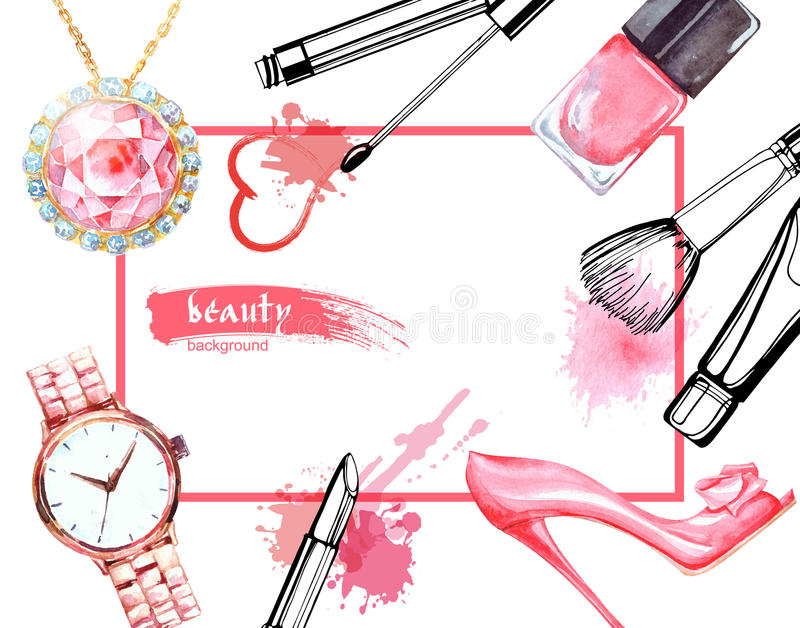 Watercolor Make up artist objects:Jewelry, women`s watches, shoes, nail Polish. Vector beauty background. Watercolor Beauty and cosmetics background. Make up stock illustration