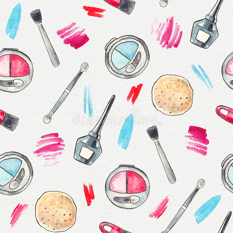 Watercolor Make up background. Watercolor Make up products set. Cosmetics. Seamless background Hand drawn Illustration stock illustration
