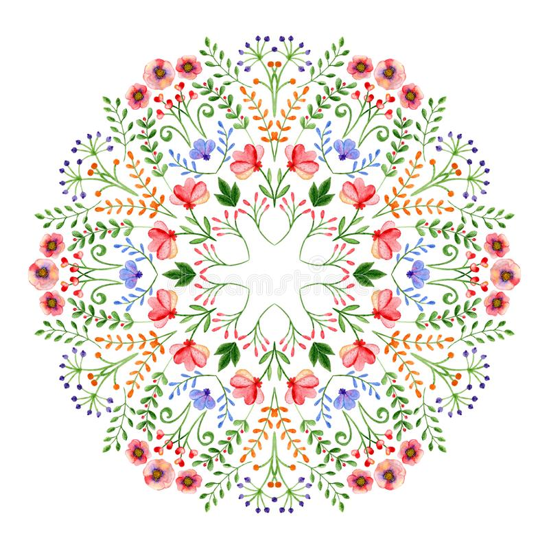Watercolor mandala. Circular hand-drawn design with spring flowers and branches. Watercolor mandala. Circular hand-drawn design with spring flowers stock illustration