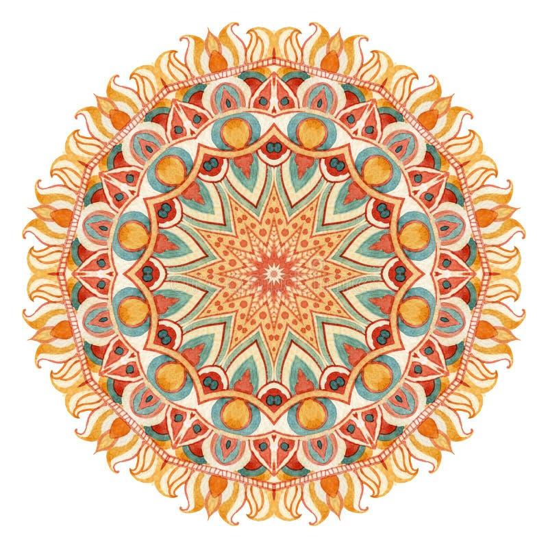 Watercolor mandala with sacred geometry. Ornate lace on white background. stock illustration