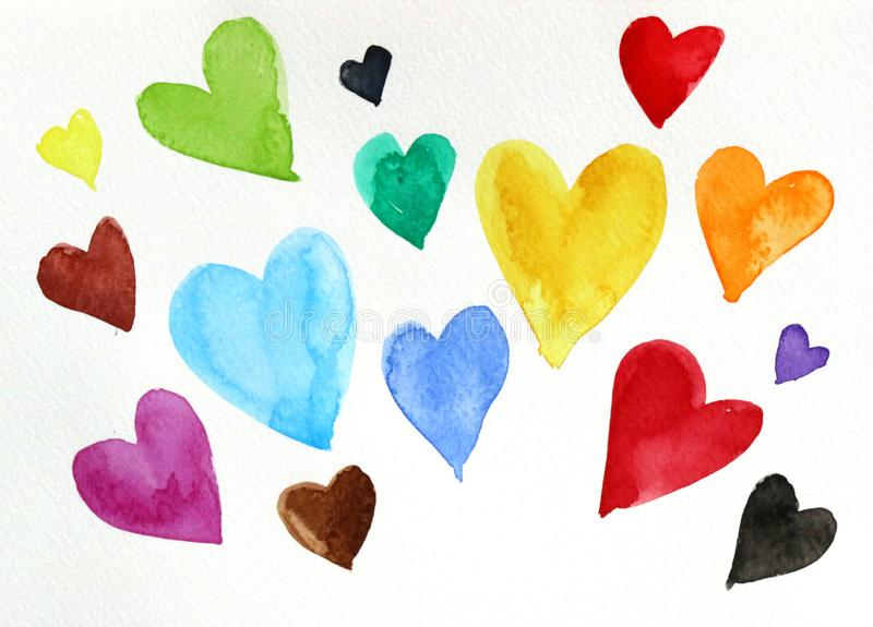 Watercolor of many color hearts on white paper. Hand paint of watercolor of many color hearts on white paper stock illustration
