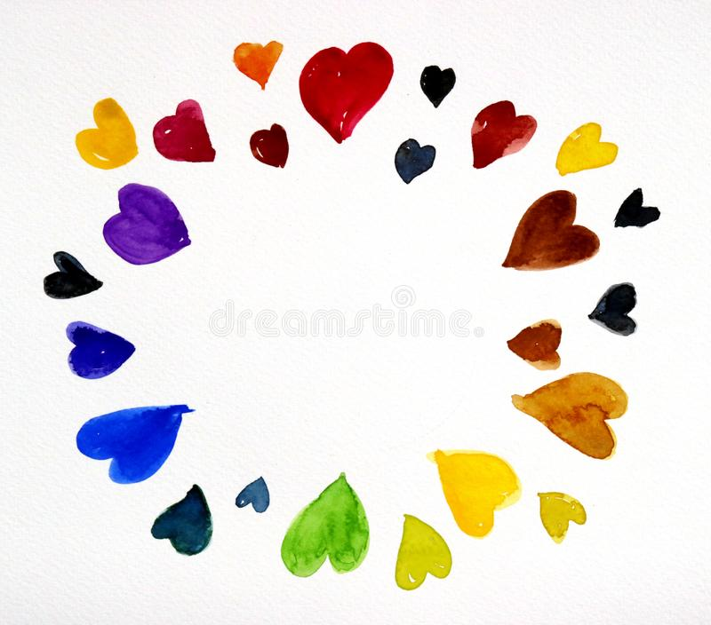 Watercolor of many color hearts on white paper. Hand paint watercolor of many color hearts on white paper stock illustration