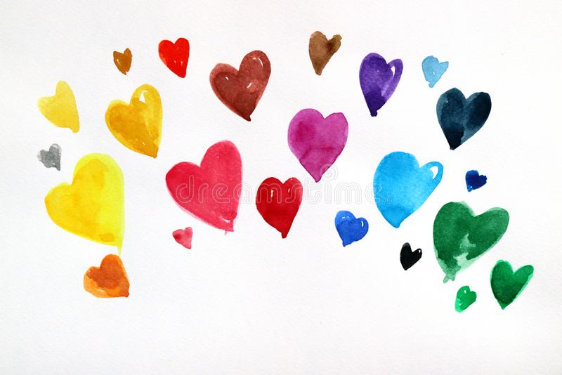 Watercolor of many color hearts on white paper. Hand paint watercolor of many color hearts on white paper vector illustration
