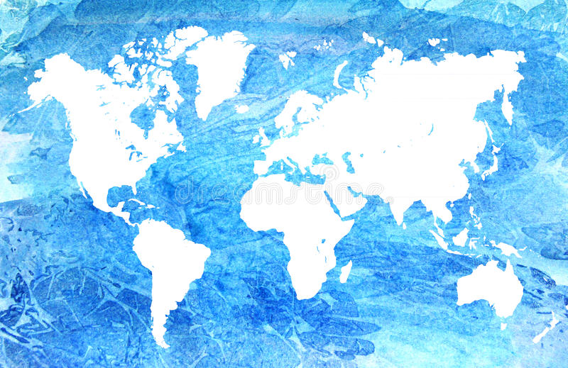 Watercolor map of the world. Beautiful blue abstract background vector illustration