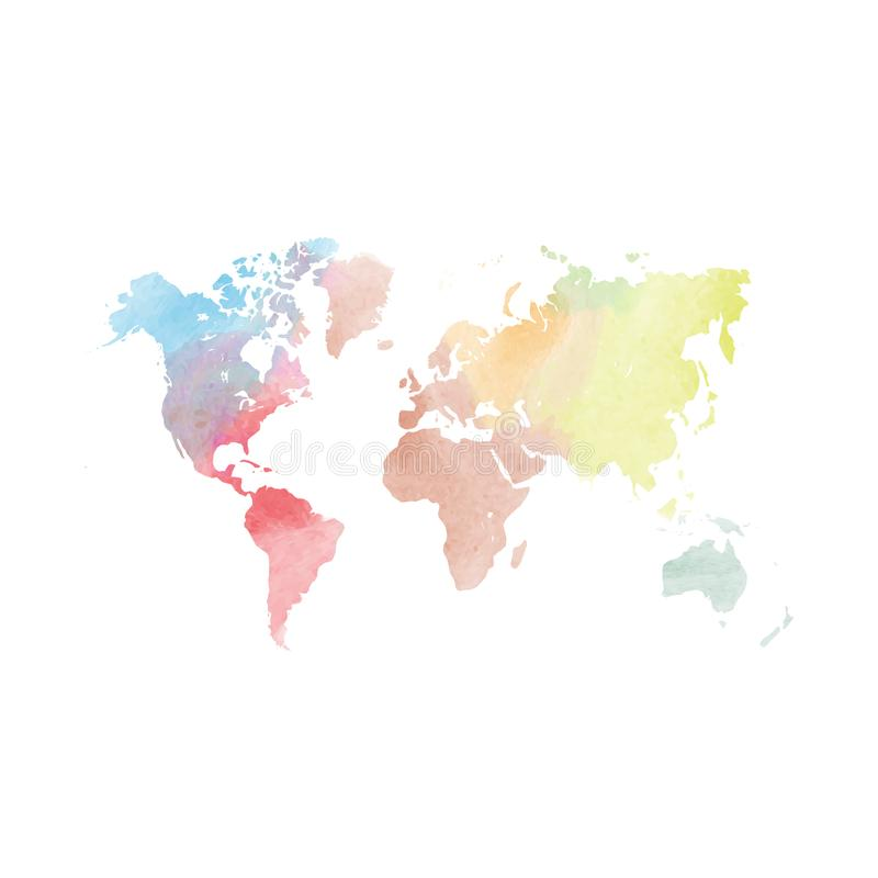 Watercolor map of World. Colorful vector illustration vector illustration