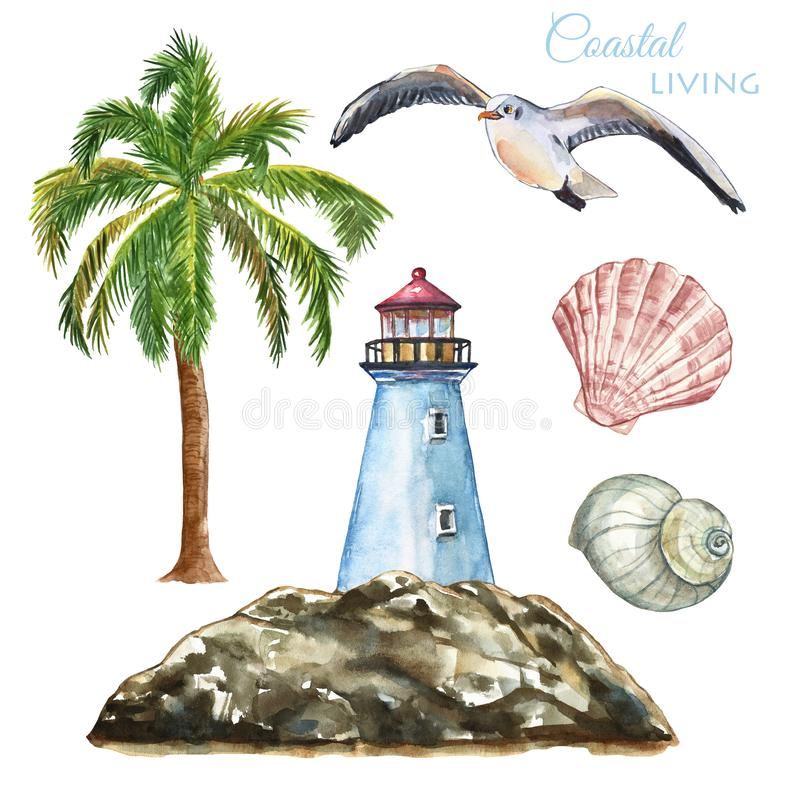 Watercolor marine nautical illustration. Set of beach elements- lighthouse, palm tree, seashells, seagull, isolated. Summer. Watercolor nautical beach set with vector illustration