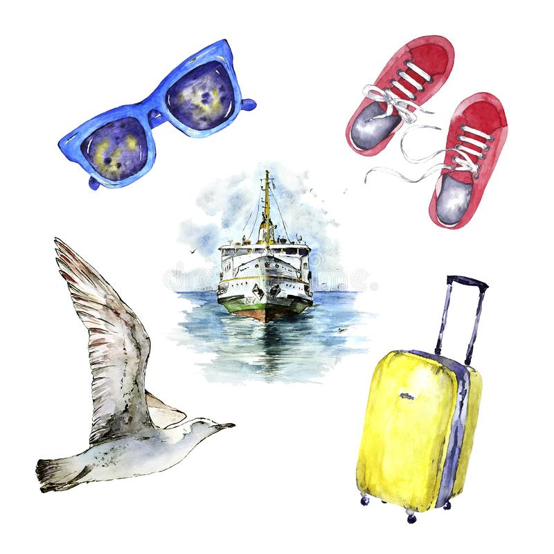 Watercolor marine travel set. Hand painted elements isolated on white. Bright journey collection. Perfect for posters, cards nd vector illustration