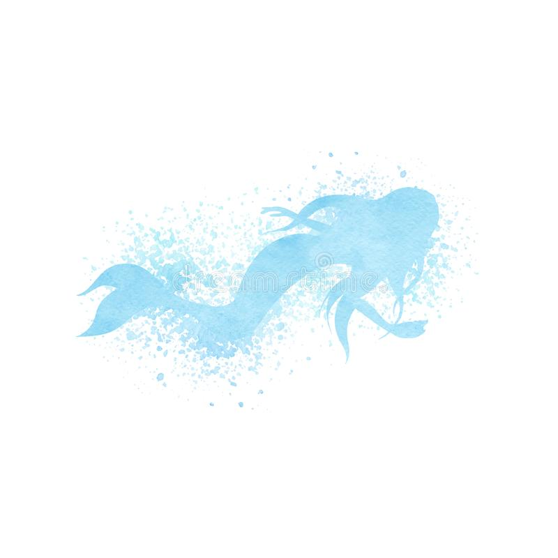 Watercolor mermaid silhouette with paint splatter in blue colors stock illustration