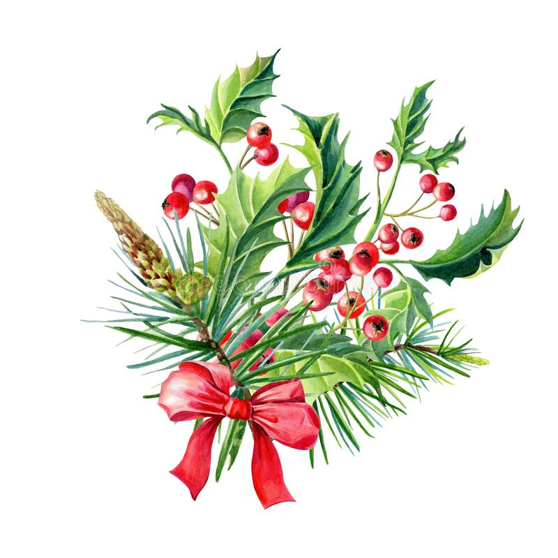 Watercolor Merry Christmas bouquet with Red bow,Holly,leaves,berries,pine,spruce,green twigs vector illustration