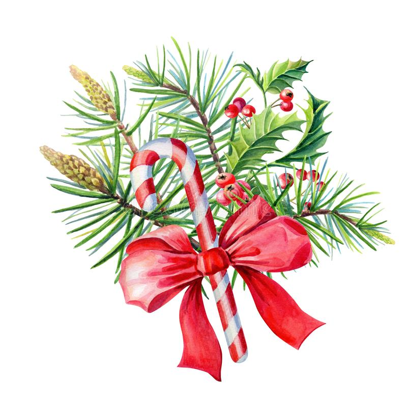 Watercolor Merry Christmas bouquet with Red bow,Holly,leaves,berries stock illustration