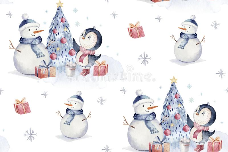Watercolor merry christmas character penguin illustration. Winter cartoon isolated cute funny animal design card. Snow. Holiday xmas penguins stock photo