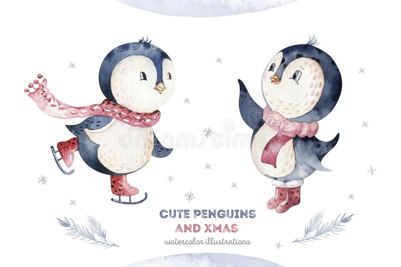 Watercolor merry christmas character penguin illustration. Winter cartoon isolated cute funny animal design card. Snow royalty free illustration