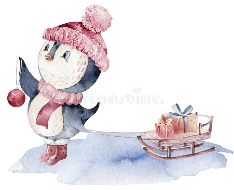 Watercolor merry christmas character penguin illustration. Winter cartoon isolated cute funny animal design card. Snow stock illustration
