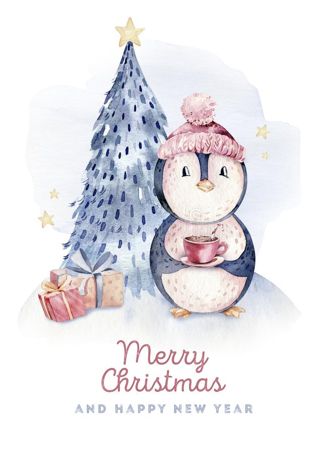 Watercolor merry christmas character penguin illustration. Winter cartoon isolated cute funny animal design card. Snow. Holiday xmas penguins royalty free stock photos