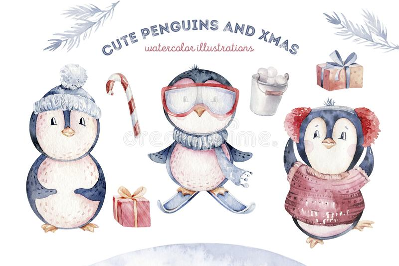 Watercolor merry christmas character penguin illustration. Winter cartoon isolated cute funny animal design card. Snow. Holiday xmas penguins stock photos