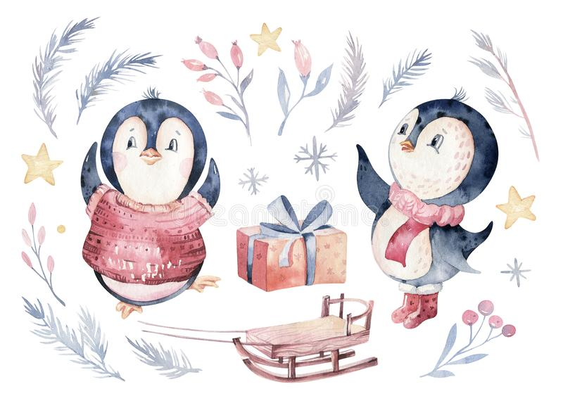 Watercolor merry christmas character penguin illustration. Winter cartoon isolated cute funny animal design card. Snow. Holiday xmas penguins royalty free stock images