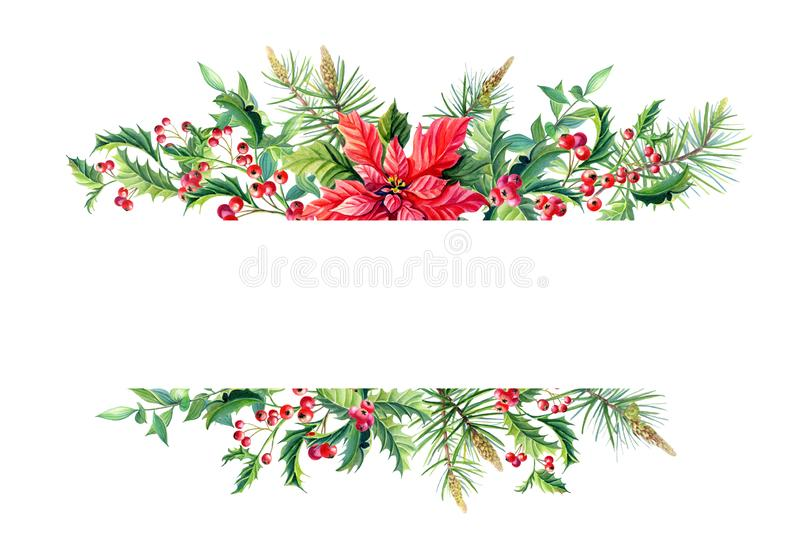 Watercolor Merry Christmas Frame banner with poinsettia royalty free illustration