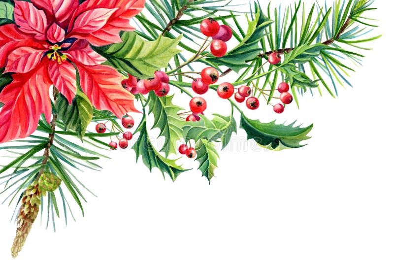 Watercolor Merry Christmas Frame banner with Red poinsettia stock illustration