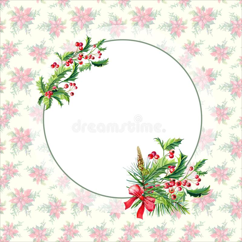 Watercolor Merry Christmas Frame with Holly,leaves,Red berries,pine,spruce,bow on vintage background.New stock illustration