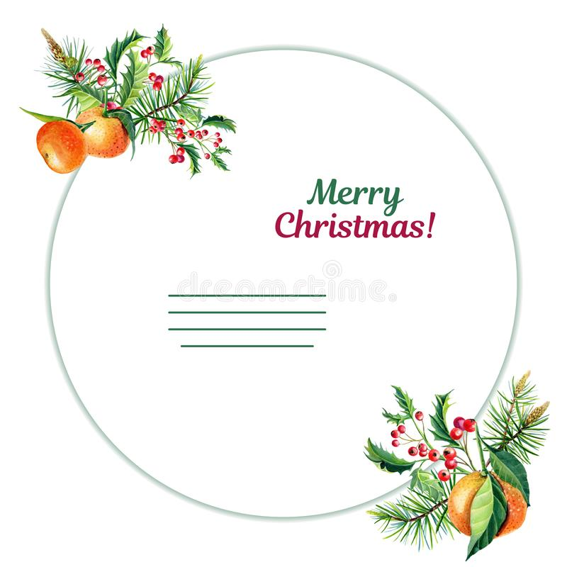 Watercolor Merry Christmas greeting card with orange tangerine,Holly,leaves,Red berries,. Watercolor Christmas greeting card with orange tangerines,Holly,leaves royalty free illustration