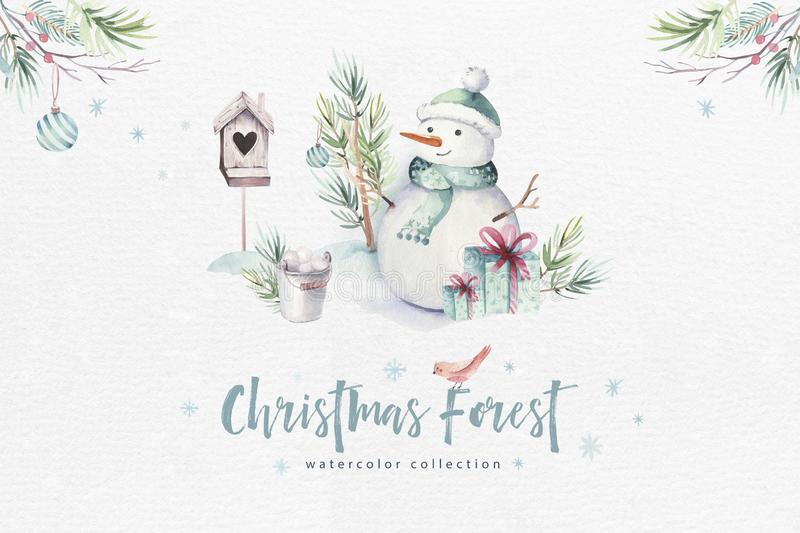 Watercolor Merry Christmas illustration with snowman, holiday cute animals deer, rabbit. Christmas celebration cards stock illustration