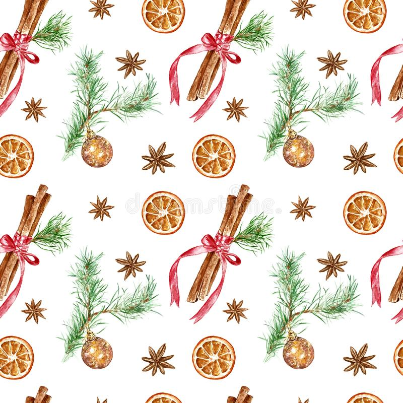 Winter festive seamless pattern for Christmas, New Years holidays. hand painted cinnamon sticks, Pine tree branch with glass ball royalty free stock images