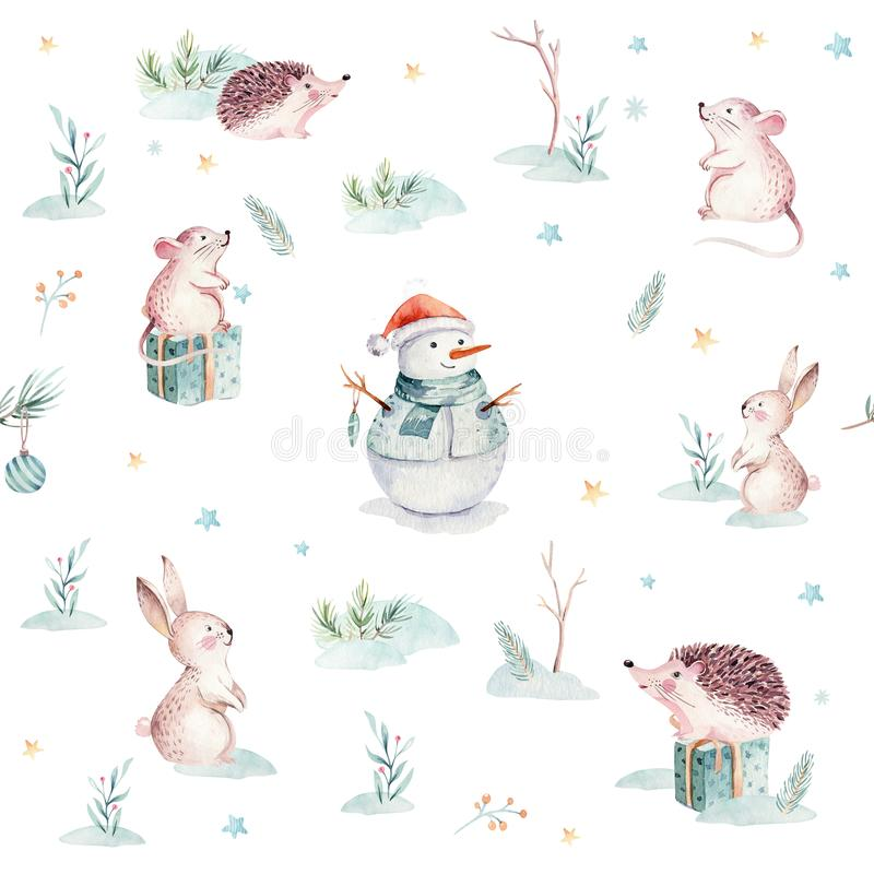 Watercolor Merry Christmas seamless patterns with gift, snowman, holiday cute animals fox, rabbit and hedgehog stock illustration